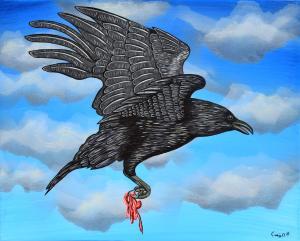 The Raven in My Parents Bird Bath
